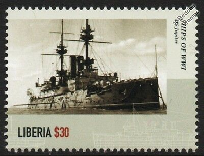 WWI HMS JUPITER (1895) Royal Navy Majestic-Class Battleship Warship Stamp