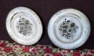 Round Metal Plates 2 Vintage Off White Gold Tan Floral Embossed England Shabby