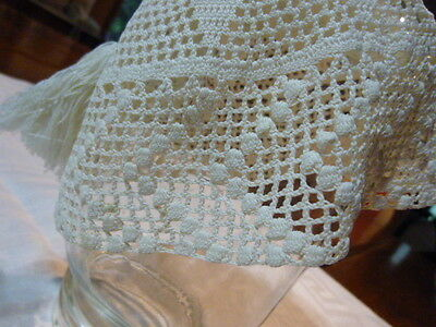 Antique Vintage Hand made Crochet Lace Baby /  Doll Bonnet Cap Off White Tassel