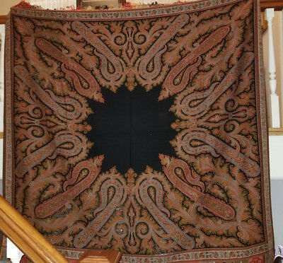 Beautiful Vibrantly Colored Antique Paisley Wool Square Shawl with 6 Colors