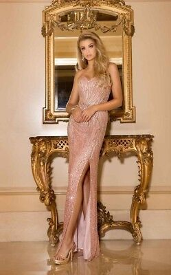 Scala 48673 formal prom dress color blush size 2