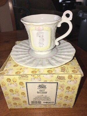 1994 Precious Moments April Teacup with Saucer Vintage Collectible (SC)