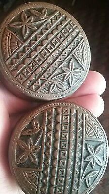 ANTIQUE SET FANCY BRASS EASTLAKE DOOR KNOBS  OLD Victorian Hardware