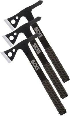 SOG Set of 3 Throwing Hawks Fixed Ax Blades Black Paracord Handles Axes TH1001CP