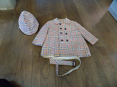 Vtg Mid Century Childs Orange Brown Plaid Lined Jacket w/ belt Cap / Hat Set