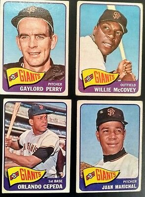 4 x Topps 1965 San Francisco Giants HOF card lot McCovey/Marichal/Perry/Cepeda