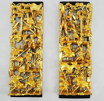 Antique Hand Carved Gold Painted Chinese War Scene Wood Panels