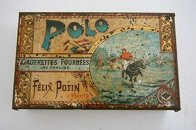 Antique Victorian Biscuits Tin Horse Riding Felix Potin Polo Paris C1880-1890
