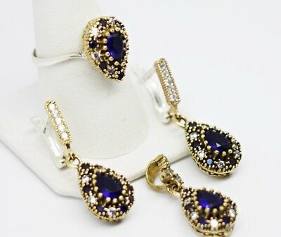 turkish jewelry 925 sterling silver sapphire blue stone ladies set ALL SİZE us