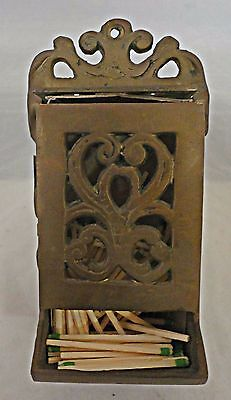 Vintage Match Holder Wall Mount Cast Brass with Cutout Designs