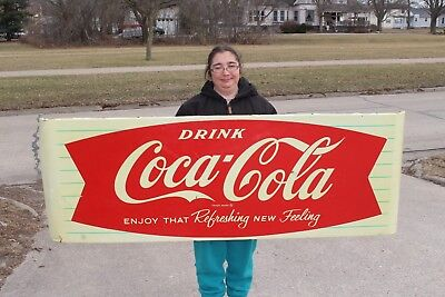 "Large Vintage 1961 Coca Cola Fishtail Soda Pop Gas Oil 68"" Metal Sled Sign"