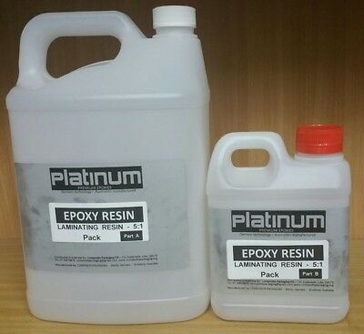 "Epoxy Resin laminating Kit 5:1 solvent free - 4.8 Ltr ""platinum' (FREE FREIGHT)"