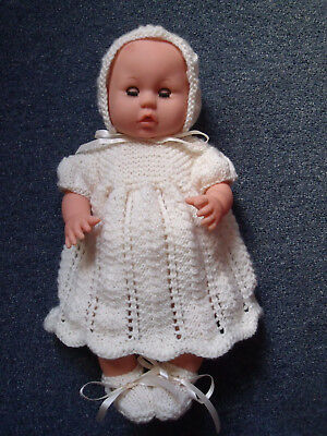 4 pce Cream Hand Knitted Dolls Clothes. 35-37cm 14-15in.
