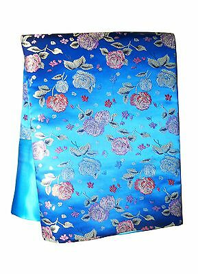 Custom-Made in USA, Art Silk Throw or Bed Scarf, Light Blue (6113)