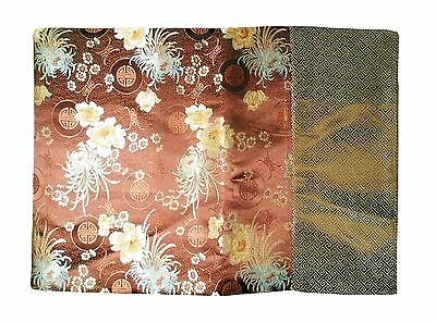 Custom-Made in USA, Art Silk Throw or Bed Scarf, Brown (6106)