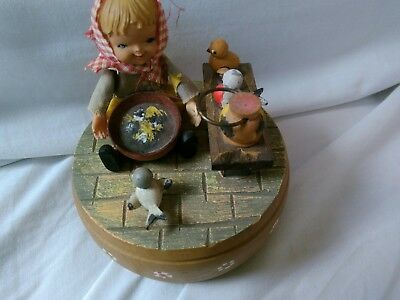 "ANRI Hand Carved Music Box plays ""it's impossible"" rotates rare girl birds Works"
