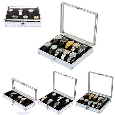 6/10/12 Grids Aluminum Watch Display Storage Box Case Tray Holder Collector Case