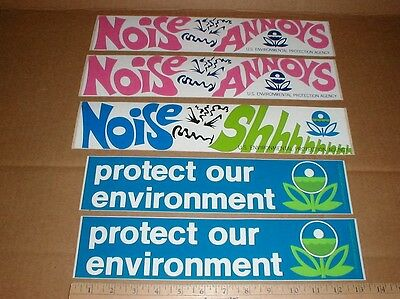 5 vtg 1972 ecology Noise Annoys Pollution funny hippie decal bumper-sticker lot