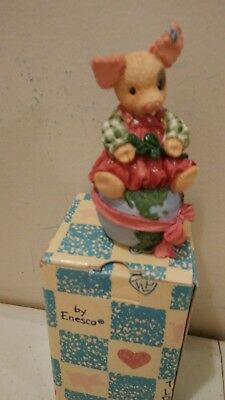 Enesco This Little Piggy  Figurine NIB 1995 Let there be Peace on Earth