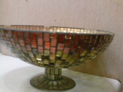 Mosaic Glass Compote yellow and red