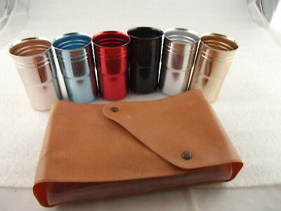 Retro Vintage Set Of Anodized Anodised Cups With Holder
