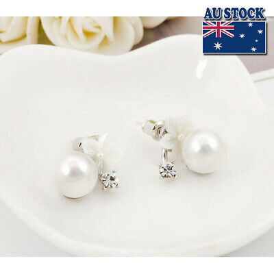925 Sterling Silver 10mm Pearl Gorgeous Mother Of Flower Stud Earrings
