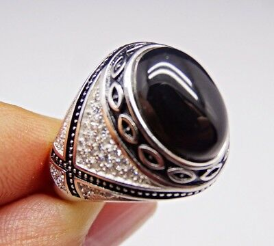 Turkish 925 Sterling Silver black onyx stone mens man ring ALL SİZE us #3045