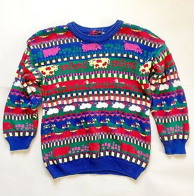 Vtg ZigZag Rainbow Farm Animal Striped Cotton Sweater Scotland Youth Kids Large