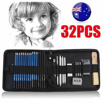 32pcs Drawing Sketch Set Charcoal Pencil Eraser Art Craft Painting Sketching BG