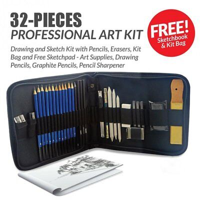 32pcs Drawing Sketching Sketch Pencil Pen Set Student Stationery Artists Tool BG
