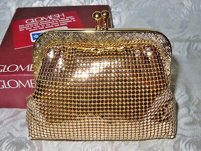 Vintage Gold GLOMESH purse in box, as new