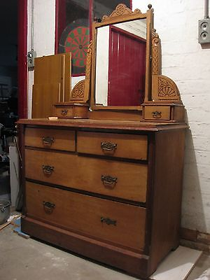 Antique Victorian Dressing Table/Chest Of 6 Drawers/Mirror, Collection In Person