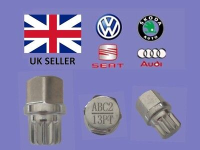 Audi Vw Seat Skoda Locking Wheel Nut Key  ABC 2 Type 13 Splines