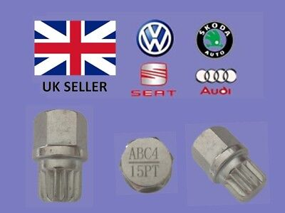 Audi Vw Seat Skoda Locking Wheel Nut Key  ABC 4 Type 15 Splines