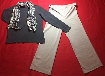 EUC Small MOTHERHOOD Maternity 3-PIECE Outfit  Gray Top Beige Pants Fleece Scarf