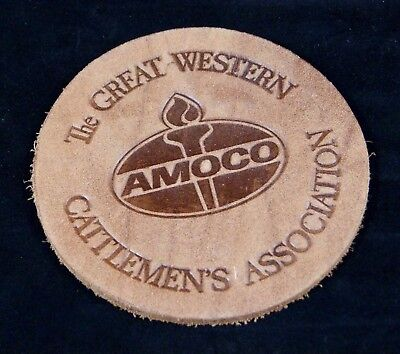 """Vintage AMOCO Leather Coaster THE GREAT WESTERN CATTLEMEN'S ASSOCIATION 4.25"""""""