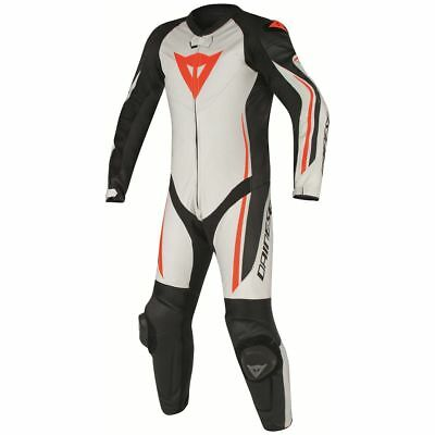 Dainese Assen Perforated 1-pc Suit White/Black/Fluo Red