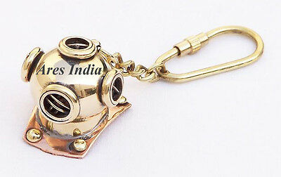 New Brass Divers Helmet Keychain Nautical Maritime Yatching Diving Keyring