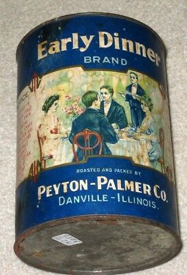 Vintage EARLY DINNER COFFEE TIN Can Container 1 Pound, Paper Label, Danville IL