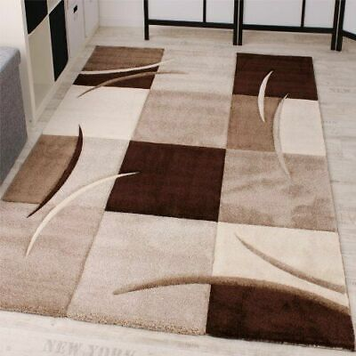 Living Room Rug Brown Beige Carpet Mat Modern Rugs Check Thick Soft Small Large
