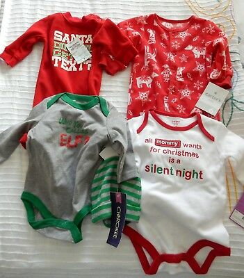 Lot of 4 NWT Baby Christmas Clothing Sizes NB - 6 Mo Carter Cherokee Okie Dokie