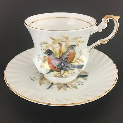 Queens Fine Bone China Teacup And Saucer Birds Of America Series 1 Made In Eng