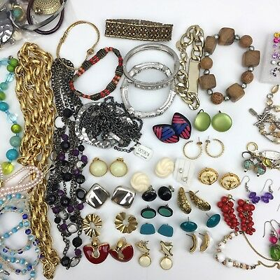 LOT of COSTUME JEWELRY vintage modern necklaces earrings bracelets ESTATE FINDS