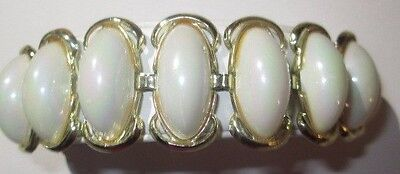 Vintage Lucite Faux Plastic Rainbow Hue Mother Of Pearl Simulated Panel Bracelet