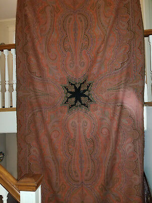 Incredible Antique Paisley Wool Long Shawl with 8 Colors