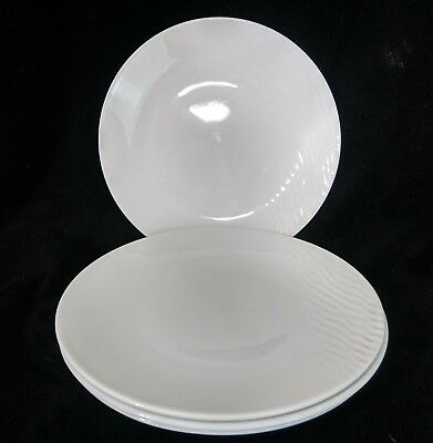 Royal Doulton Touch Dinner Plates White Wavy Lines Studio 10.25 Inches Set of 4