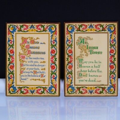 2 Celtic Design Plaques An Irish Toast and An Old Gaelic Blessing Vintage Decor