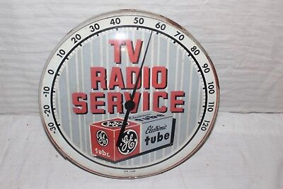 """Vintage 1950's GE TV Radio Service Gas Oil 12"""" Metal Glass Thermometer Sign"""