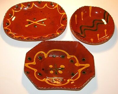 Vtg 3 Small Dish Set 1984 Lester Breininger Pa Redware Folk Art Slip Pottery