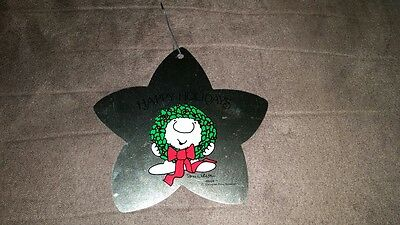 FREE SHIPPING! Ziggy Happy Holidays Christmas Tree Ornament Wreath Metal Star